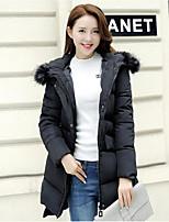 Women's Solid Blue / Pink / Red / Black / Gray / Purple Padded Coat,Simple Hooded Long Sleeve Down Jacket