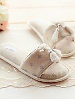 Damen-Slippers & Flip-Flops-Lässig-Baumwolle-Flacher Absatz-Fersenriemen-Beige