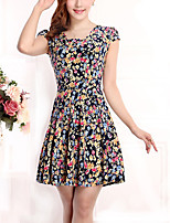 New Arrival Women's Vintage / Street chic Floral Plus Size / Sheath Dress,Round Neck Above Knee Cotton / Polyester