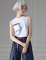 ROOM404  Women's Casual/Daily Simple SummerSolid Crew Neck Sleeveless White Cotton Opaque