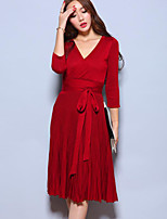 Women's Party/Cocktail Vintage Sheath DressSolid V Neck Midi  Sleeve Red / Black Polyester Fall High Rise