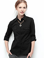 NAKED ZEBRA Women's Shirt Collar Long Sleeve Shirt & Blouse Black-12001B