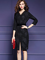 Women's Plus Size Street chic Bodycon / Sheath DressPrint V Neck Knee-length  Sleeve Black Polyester Fall / Winter