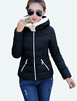 Women's Solid Pink / Red / White / Black / Gray CoatSimple Hooded Long Sleeve
