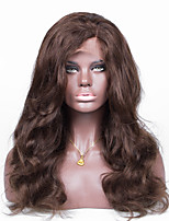 No shedding No tangle Medium Brown Color Wavy Human Hair Full Lace Wig