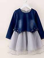 Girl's Casual/Daily Solid DressCotton Spring / Fall Blue