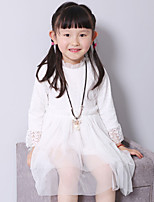 Girl's Casual/Daily Solid DressCotton Spring / Fall Pink / White / Gray