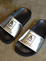 Unisex Slippers & Flip-Flops Summer Slippers / Open Toe Leather Casual Flat Heel Others Black / Silver / Gold Others