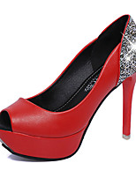 Women's Sandals Summer Platform PU Casual Stiletto Heel Sparkling Glitter Black / Red / White Others