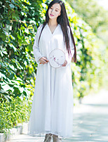 Ramie Cotton Women's Casual/Daily Simple Loose DressSolid V Neck Maxi Long Sleeve White