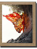 Modern Wall Art Abstract Oil Painting Butterfly Woman Hand Painted On Natural Linen With Stretched Frame For Living Room