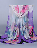 Women's Chiffon Flowers Print Scarf Fuchsai/Watermelon/Purple