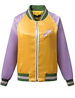 Damen Druck Street Schick Lässig/Alltäglich Jacke,Rundhalsausschnitt Herbst / Winter Langarm Gelb Kunstseide / Polyester Mittel