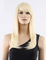 Top Grade Low Price Light Blonde Middle Long Straight With Full Bang Synthetic Wig Hot Sale.