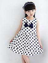 Mädchen Kleid-Lässig/Alltäglich Punkte Polyester Sommer Blau / Rot / Weiß