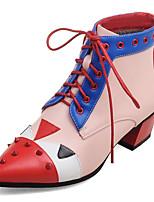 Damen-Stiefel-Büro Kleid Lässig-Kunstleder-Blockabsatz-Modische Stiefel-Rot Grau
