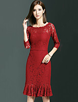 Women's Plus Size / Work Sexy Bodycon / Lace / Trumpet/Mermaid Dress,Solid Boat Neck Red Polyester Spring / Fall