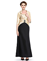 Lanting Bride®Sheath / Column Mother of the Bride Dress Ankle-length 3/4 Length Sleeve Taffeta with Beading / Draping / Criss Cross