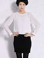 NEW BEFORE  Women's Work Simple Sheath DressSolid Round Neck Above Knee Long Sleeve