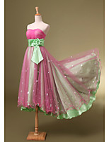 Cocktail Party Dress A-line Sweetheart Knee-length Tulle with Flower(s) / Sequins