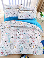 Bedtoppings Comforter Duvet Quilt Cover 4pcs Set Queen Size Flat Sheet Pillowcase Poker Pattern Prints Microfiber