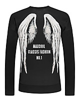 Men's Couple Space Cotton Wings Letters  Printing Cartoon Casual  Long Sleeve Black Sweatshirt Pullover