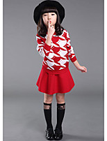 Girl's Casual/Daily Striped Clothing SetWool Winter / Spring Pink / Red