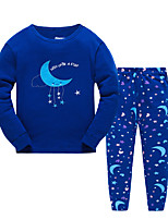 Boy's Casual/Daily Print Clothing SetCotton Winter / Fall Blue