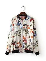 Damen Blumen Einfach Lässig/Alltäglich Jacke,Rundhalsausschnitt Herbst Langarm Weiß Baumwolle Mittel