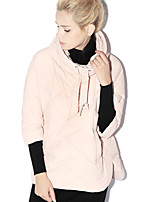 Newbefore Women's Solid Blue / Pink Down CoatSimple Turtleneck  Sleeve