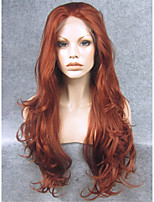 IMSTYLE 26Popular Auburn Long Wave Synthetic Wigs Lace Front
