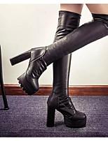 Feminino-Botas-Botas da Moda-Salto Grosso-Preto-Couro Ecológico-Ar-Livre
