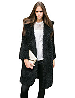Women's Casual/Daily / Formal Street chic Coat,Solid Shirt Collar Long Sleeve Winter Pink / Black / Gray Lamb Fur Thick