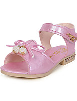 Girl's Sandals Summer Sandals / Comfort / Round Toe PU Dress Flat Heel Crystal / Others / Hook & Loop Blue / Pink