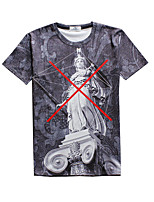 New Fashion Men Sculpture Printed Crew Neck Short Sleeve Men 3d T-shirt