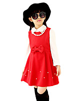Girl's Casual/Daily Solid DressPolyester Spring / Fall Blue / Pink / Red