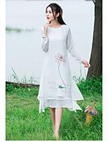 Damen Chiffon Kleid-Lässig/Alltäglich Niedlich Blumen Rundhalsausschnitt Midi Langarm Weiß Andere Sommer Mittlere Hüfthöhe Unelastisch