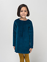 Girl's Casual/Daily Solid DressCotton / Spandex Winter / Spring / Fall Blue