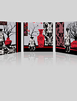 JAMMORY Canvas Set Landscape ,Three Panels Gallery Wrapped, Ready To Hang Vertical Print No Frame Black and Red Vase