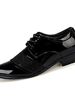 Men's Oxfords Spring / Fall Comfort / Pointed Toe PU Casual Flat Heel Lace-up Black Walking