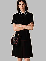 Boutique S Going out / Casual/ Street chic / Sophisticated Summer Polo Skirt,Solid Shirt Collar Short SleeveWhite