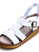 Women's Sandals Summer PU Outdoor Casual Platform Creepers Buckle Black White Silver Other