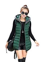 Women's Solid Plus Size Slim Frivolous  Waistcoat Coat Simple / Street chic Hooded Sleeveless