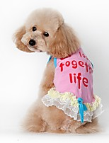 Cat Dog Dress Dog Clothes Summer Spring/Fall Letter & Number Cute Casual/Daily Blue Pink