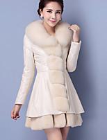 Женский Большие размеры Пэчворк Пальто с мехом Рубашечный воротник,Уличный стиль Осень / Зима Белый / Черный / Фиолетовый Длинный рукав,