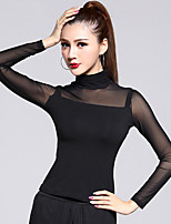 Latin Dance Tops Women's Training Tulle / Modal 1 Piece Black Latin Dance Long Sleeve Natural Top High Collar