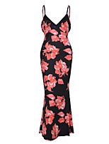 Women's Going out / Party/Cocktail Sexy / Simple Bodycon DressFloral Strap Maxi Sleeveless