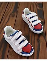 Girl's Sneakers Fall Closed Toe Leather Athletic Flat Heel Magic Tape Black / White Sneaker