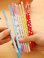 12 шт цветочные черные чернила гелевая ручка