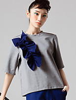 ROOM404  Women's Going out Simple Spring BlouseSolid Crew Neck Length Sleeve White / Gray